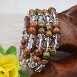 Bracelet Cristal de roche et Unakite