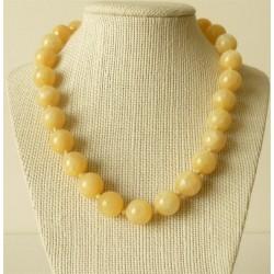 Collier Calcite Jaune Perles Rondes 10mm