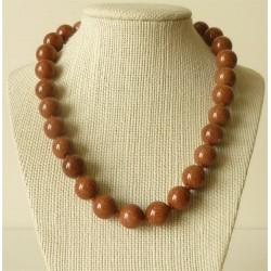 Collier pierre de soleil Perles rondes 14mm