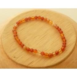 Bracelet Cornaline perles rondes 4mm