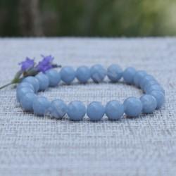 Angélite bracelet perles rondes 8mm