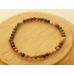 Bracelet Jaspe mokaïte Perles rondes 4mm