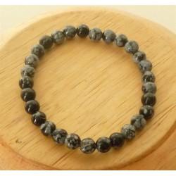 Bracelet Obsidienne mouchetée Perles rondes 6mm