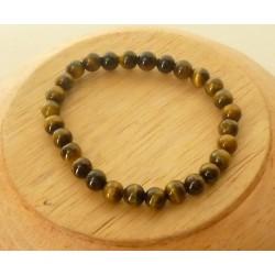 Bracelet Oeil de Tigre perles rondes 6mm