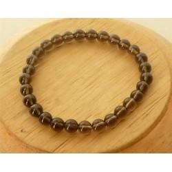 Bracelet Quartz Fumé Perles rondes 4mm
