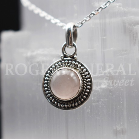 Pendentif oval Quartz rose et argent