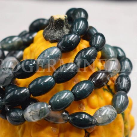 Bracelet Agate mousse perles ovales