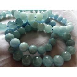Bracelet Aigue-Marine Perles rondes 12mm