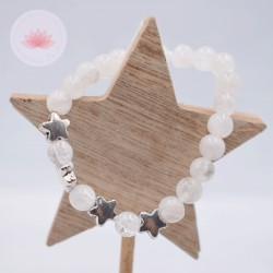 Bracelet fille en Pierre de lune et Cristal de roche