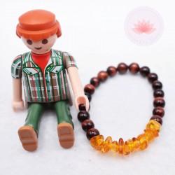 Bracelet pour garçon en Oeil de tire et Ambre