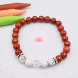 Bracelet garçon en Jaspe rouge, Howlite et Cristal de roche