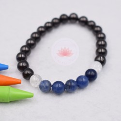 Bracelet enfant en Shungite, Sodalite et Cristal de roche