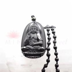 Obsidienne noire sautoir Bouddha