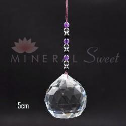 Boule Feng-shui à suspendre 5cm + perles de Shungite, Cristal et Améthyste