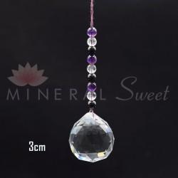 Boule Feng-shui à suspendre 3cm + perles de Shungite Cristal et Améthyste