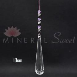 Pointe Feng Shui bout rond 10cm + perles de Shungite Cristal et Améthyste