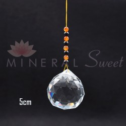 Boule Feng-shui à suspendre 5cm + perles de Shungite et Cornaline