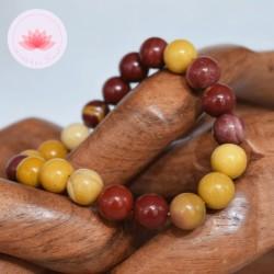 Bracelet Jaspe Mokaïte perles rondes 10mm