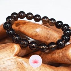 Bracelet Quartz fumé perles rondes 10mm