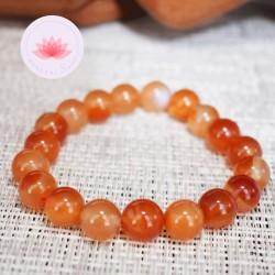 Bracelet Cornaline perles rondes 10mm