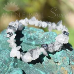 Bracelet quartz avec inclusions de tourmaline noire baroque