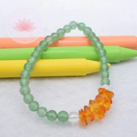 Bracelet fille en Aventurine, Cristal de roche et Ambre