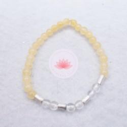 Bracelet fille en Calcite jaune et Cristal de roche