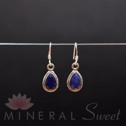 Boucle d'Oreille Lapis Lazuli faceté argent.