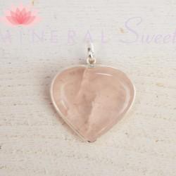 Pendentif coeur Quartz rose et argent