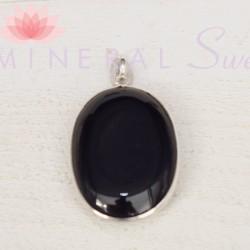 Pendentif oval Tourmaline noire et argent
