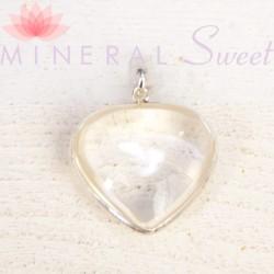 Pendentif coeur Cristal de roche et argent