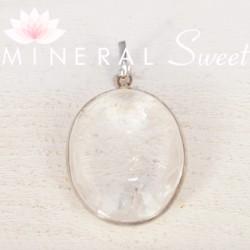Pendentif oval Cristal de Roche et argent