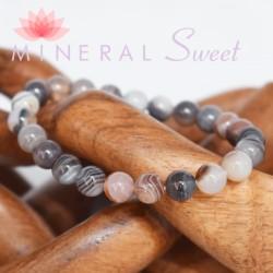 Bracelet Agate Botswana perles rondes 8mm