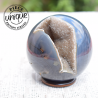 Sphère d'Agate avec cristallisation de quartz fumé  2