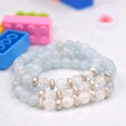 Bracelet fille en Cristal de roche et Aigue-marine