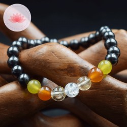 Bracelet Homme en Shungite, Jade citron, Cornaline, Citrine et Cristal de Roche