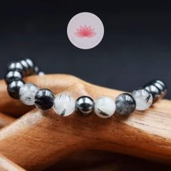 Bracelet Homme Shungite Hématite et Cristal de Roche inclusion Tourmaline noire