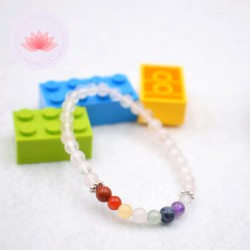 Bracelet fille en Quartz rose et 7 chakras