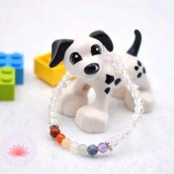 Bracelet fille en Cristal de roche et 7 chakras