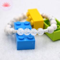 Bracelet fille en Howlite et Cristal de roche