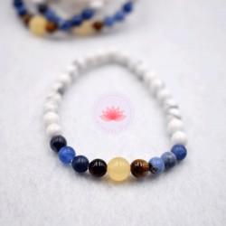 Bracelet enfant en Howlite, Sodalite, Calcite jaune et Oeil de tigre