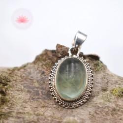 Pendentif Fluorite verte argent oval