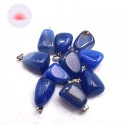 Pendentif Agate bleue teintée + attache métal