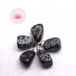 Pendentif Obsidienne Flocon de Neige + attache métal