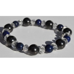 Bracelet Shungite, Cristal de roche et Angelite