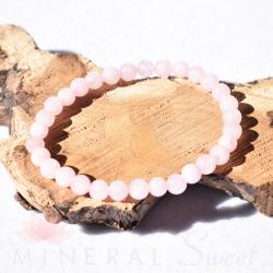 Bracelet Quartz rose Perles rondes 6mm
