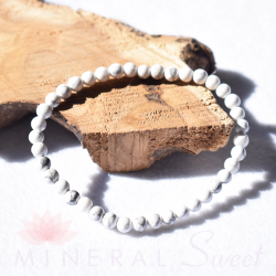 Bracelet Howlite Perles rondes 4mm