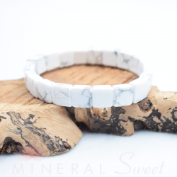 Bracelet Howlite square 10mm