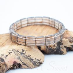 Bracelet Quartz fumé square 10mm