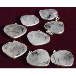 Pendentif Cœur Cristal inclusion Tourmaline